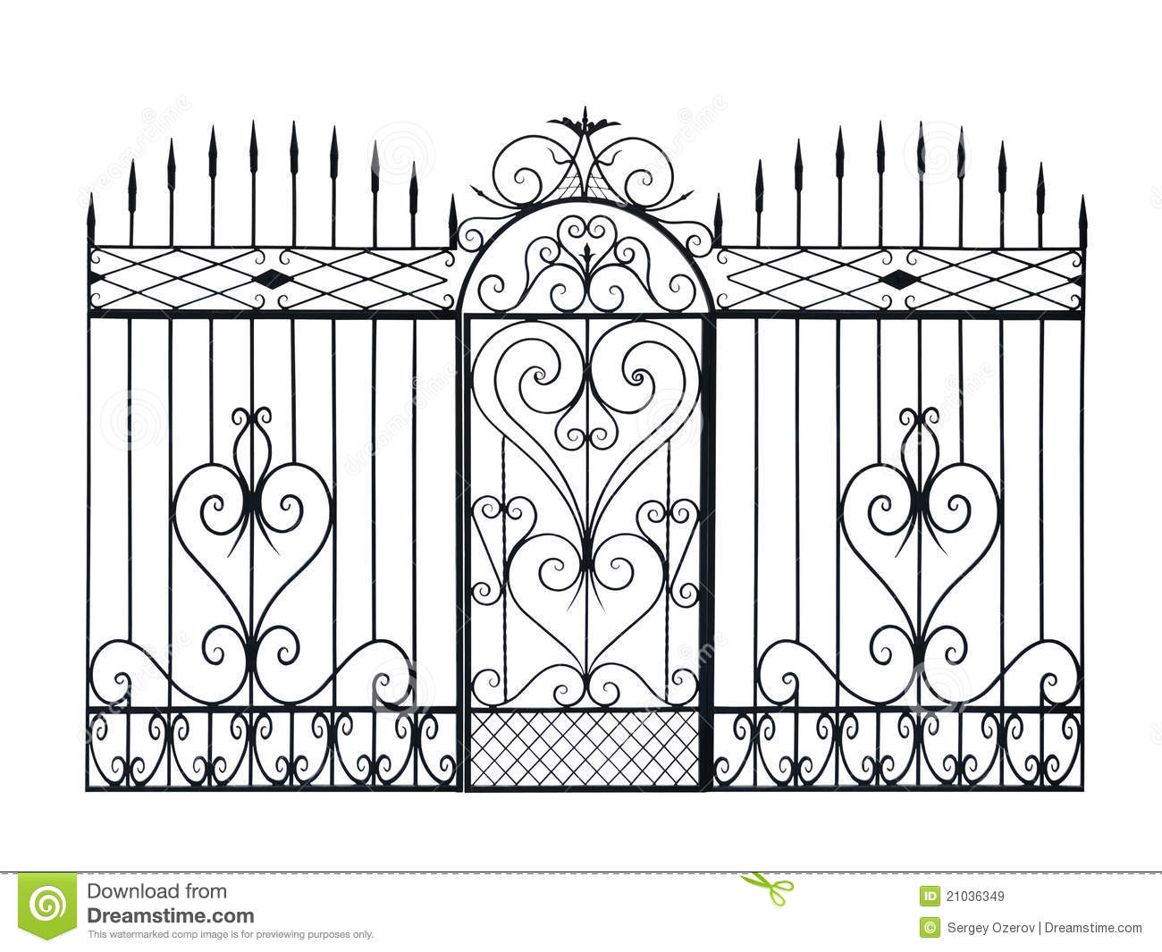Royalty-Free Stock Photo. Download Old Forged Fence And Door ...  sc 1 st  Dreamstime.com & Old Forged Fence And Door With Ornament. Stock Illustration ... pezcame.com