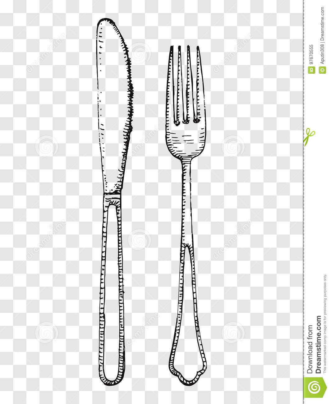 Old Fork And Knife Hand Drawing Cutlery On A Transparent