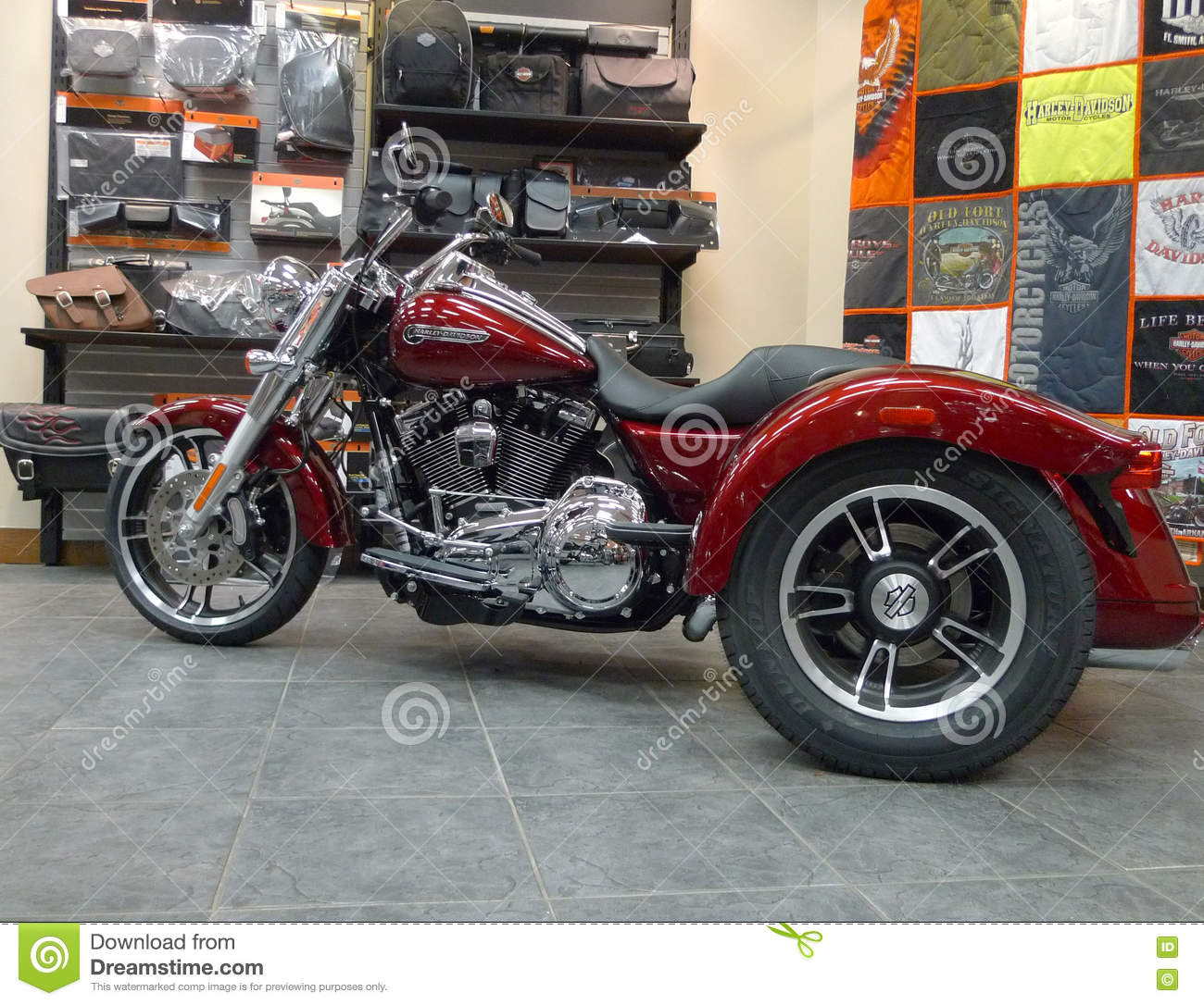 old fort harley davidson retail store trike editorial photography