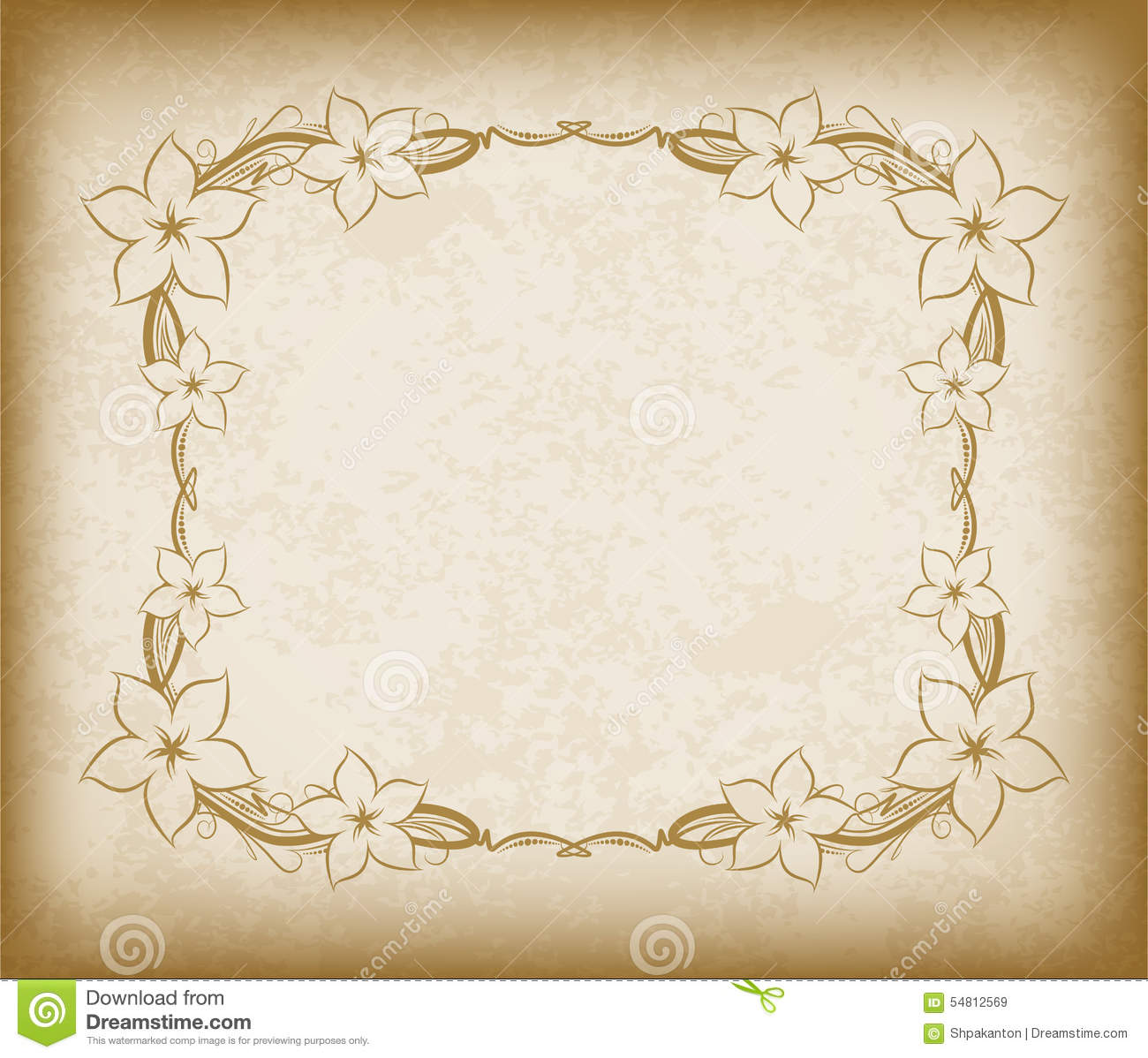 Old Frame With Flowers On Aged Paper With Dark Edges And A