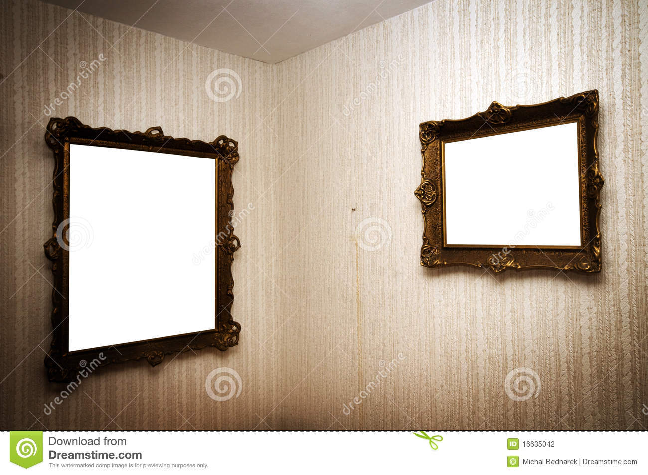 Frames On Wall gallery wall with old frames stock photo - image: 40544473