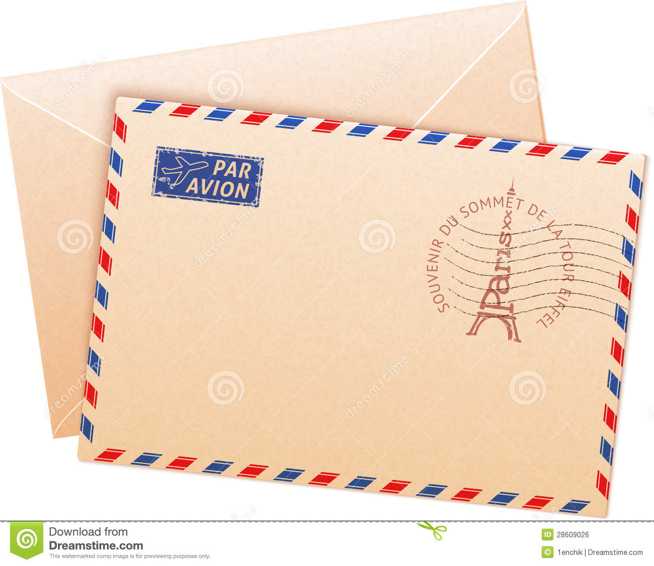 Old French Envelope With Eiffel Tour Royalty Free Stock