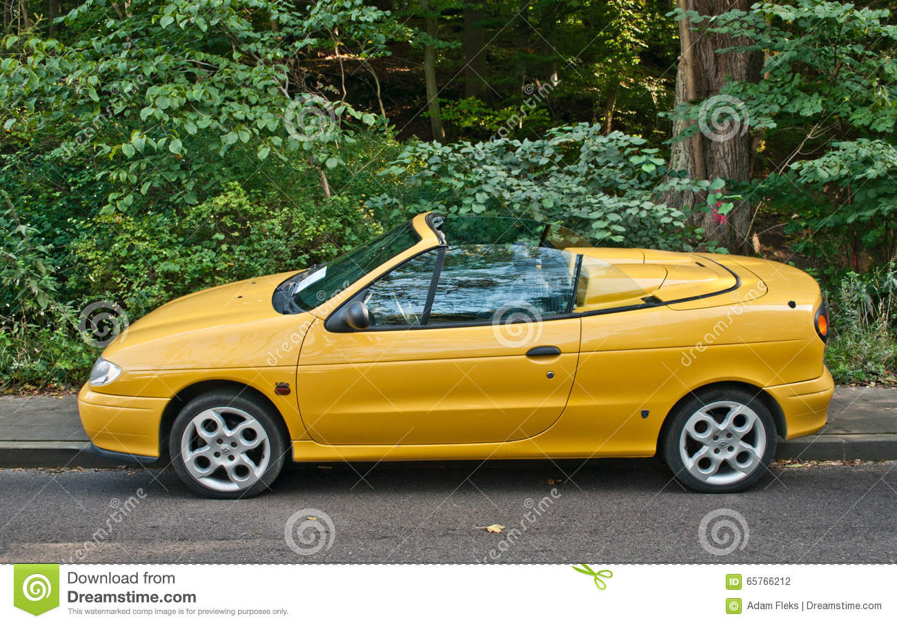 Old French Renault Megane Convertible Car Parked Editorial ...