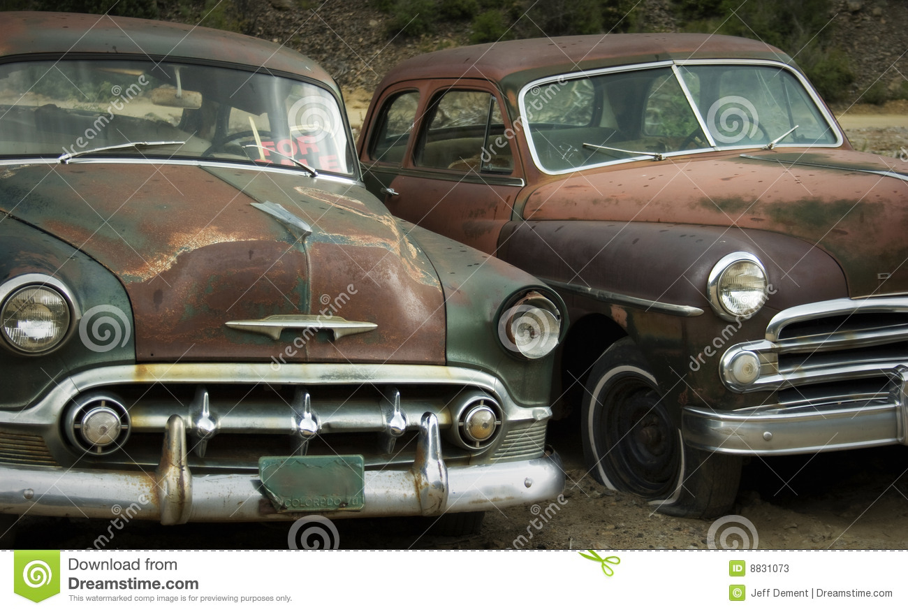 Old Cars For Sale Stock Photos Old Cars For Sale Stock: Old Friends Rusting At The Junkyard FOR SALE Stock Image