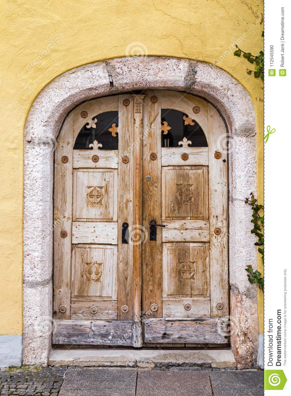 Old Front Door With Stone Arch Stock Photo Image Of Wooden