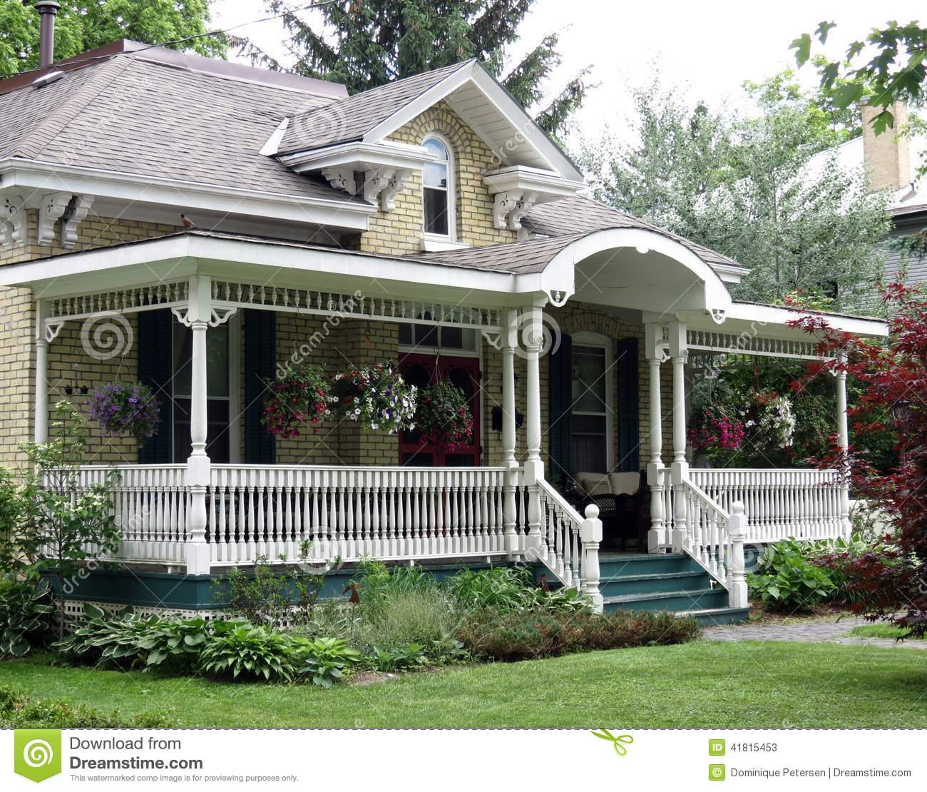 Stock Photo Old Front Porch Beautiful Arched Detail Yellow Brick Home Perfect Relaxing Summer S Evening Image41815453 on trinidad old country houses