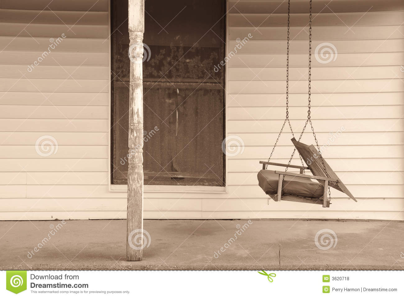 Old front porch with swing stock photo image of abandoned for Old porch swing