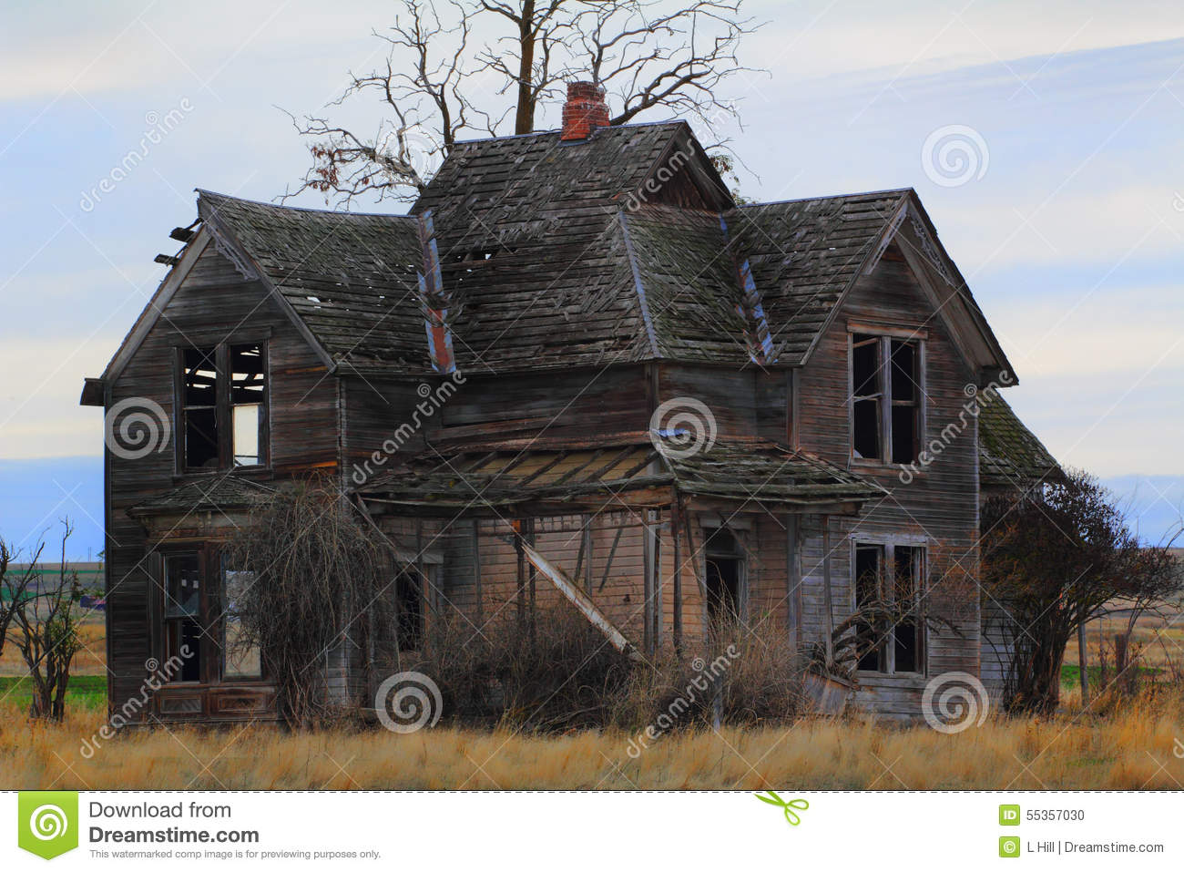 Old Frontier Farmhouse Stock Photo