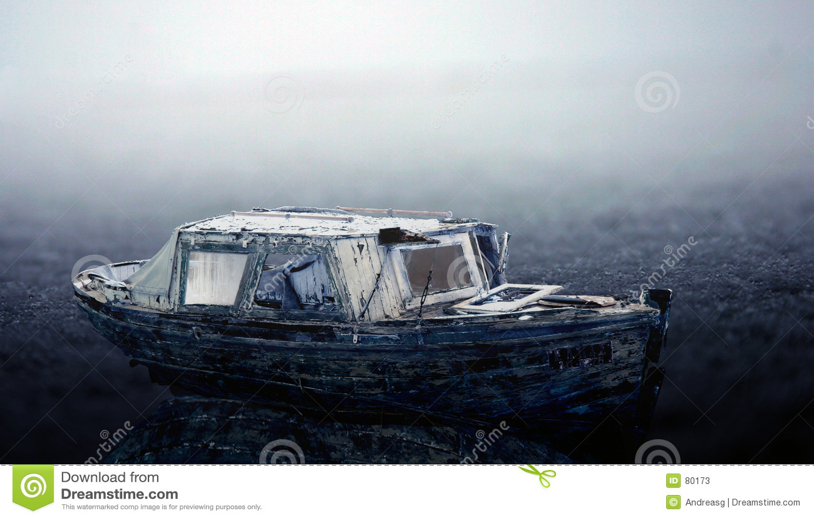 Old frozen boat