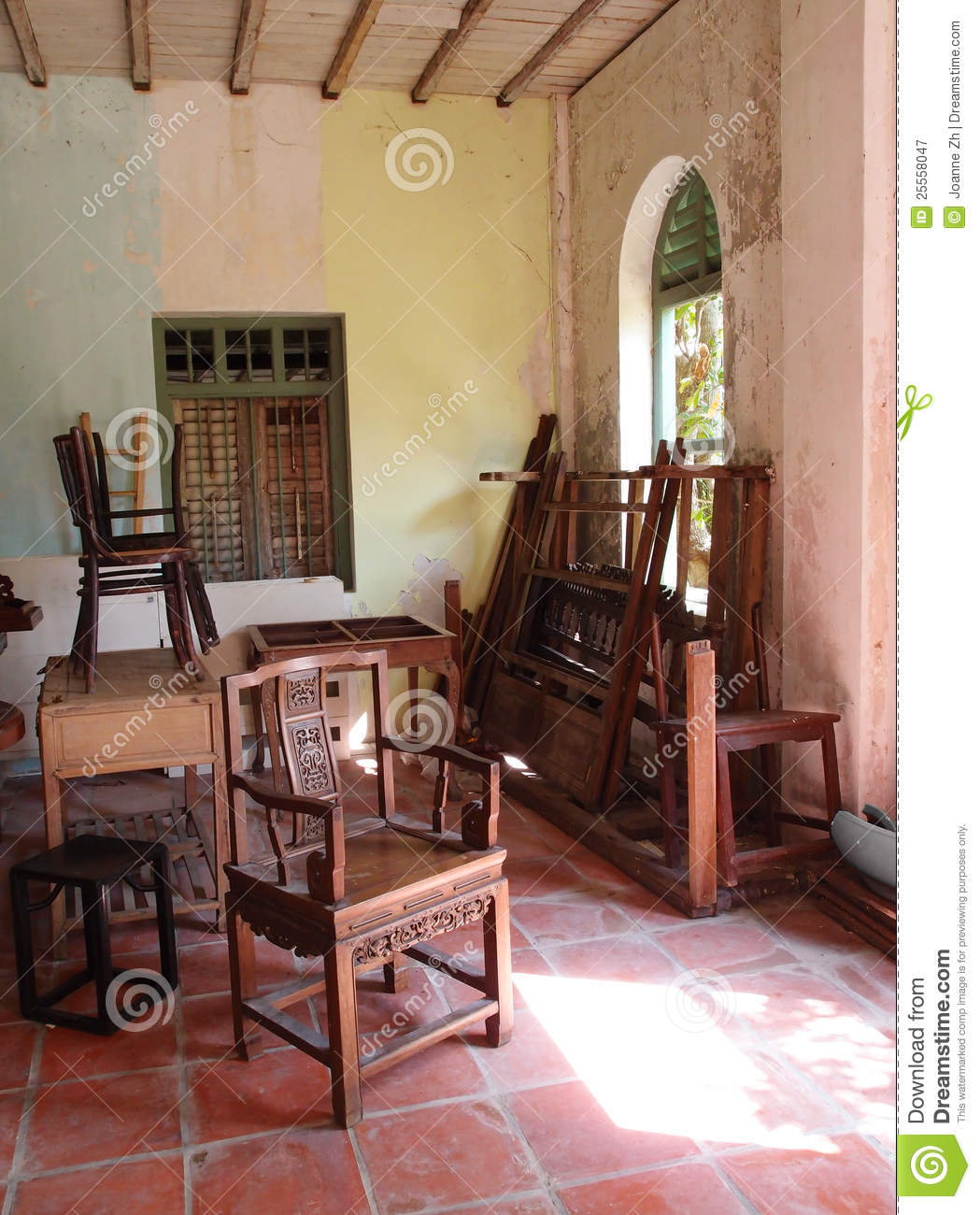 Old furniture in dilapidated old house royalty free stock for Classic house furniture galleries