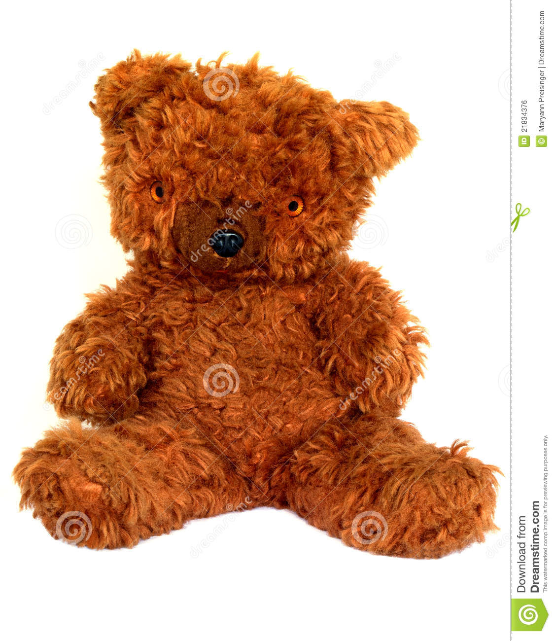 Old Furry Brown Teddy Bear On White Background Stock Photo ...