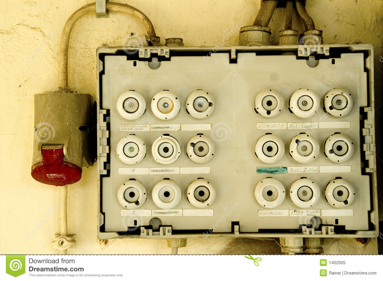 Old Fuse Box Stock Image  Image Of Inscription  White