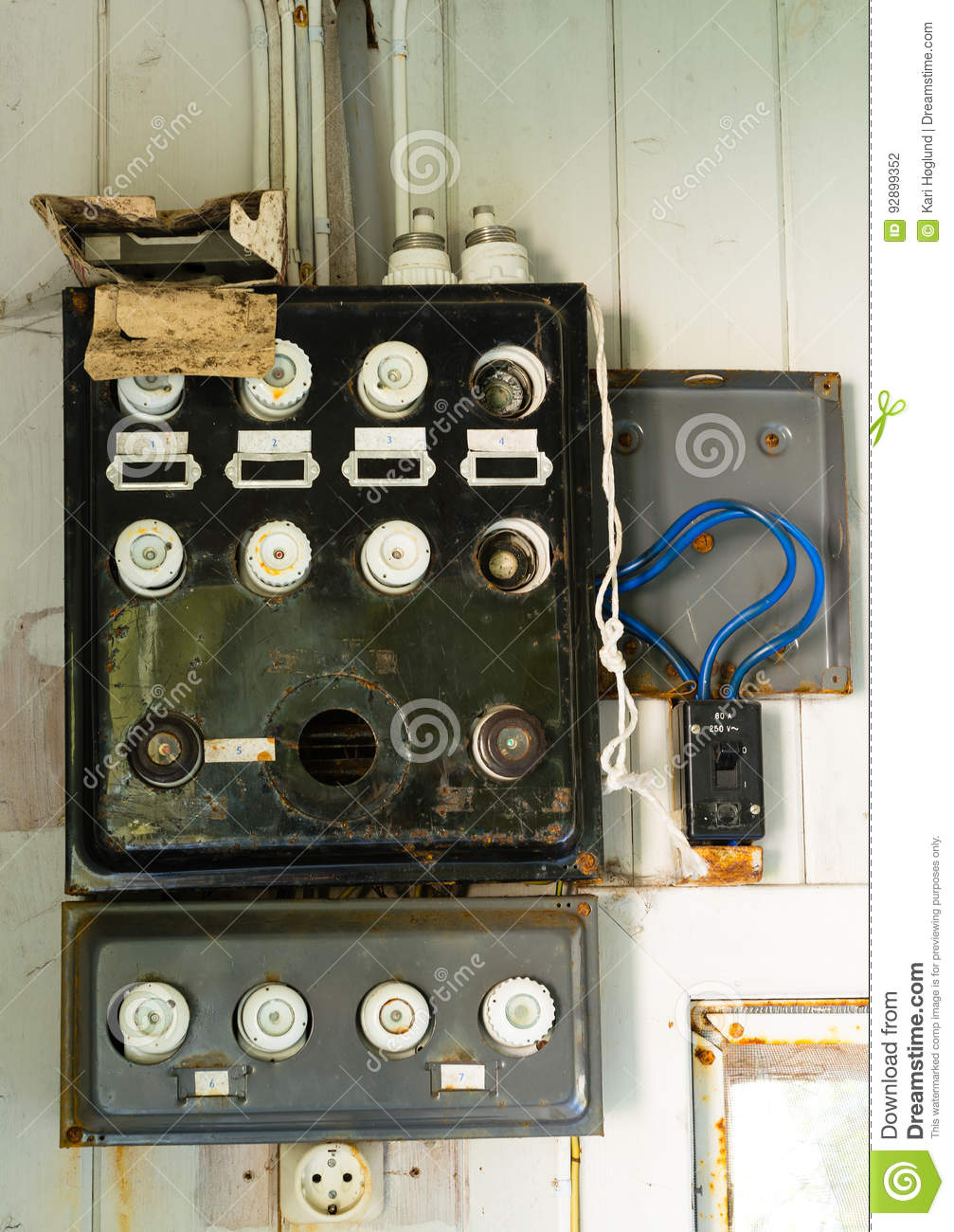Old fuse box in a abandoned house