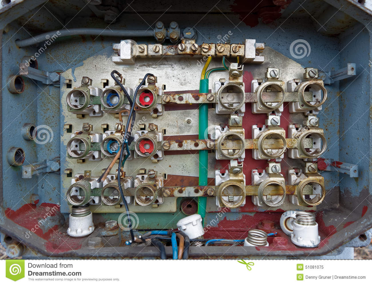 old fuse box cables connectors 51081075 old fuse box stock photo image 51081075 fuse box cable at aneh.co