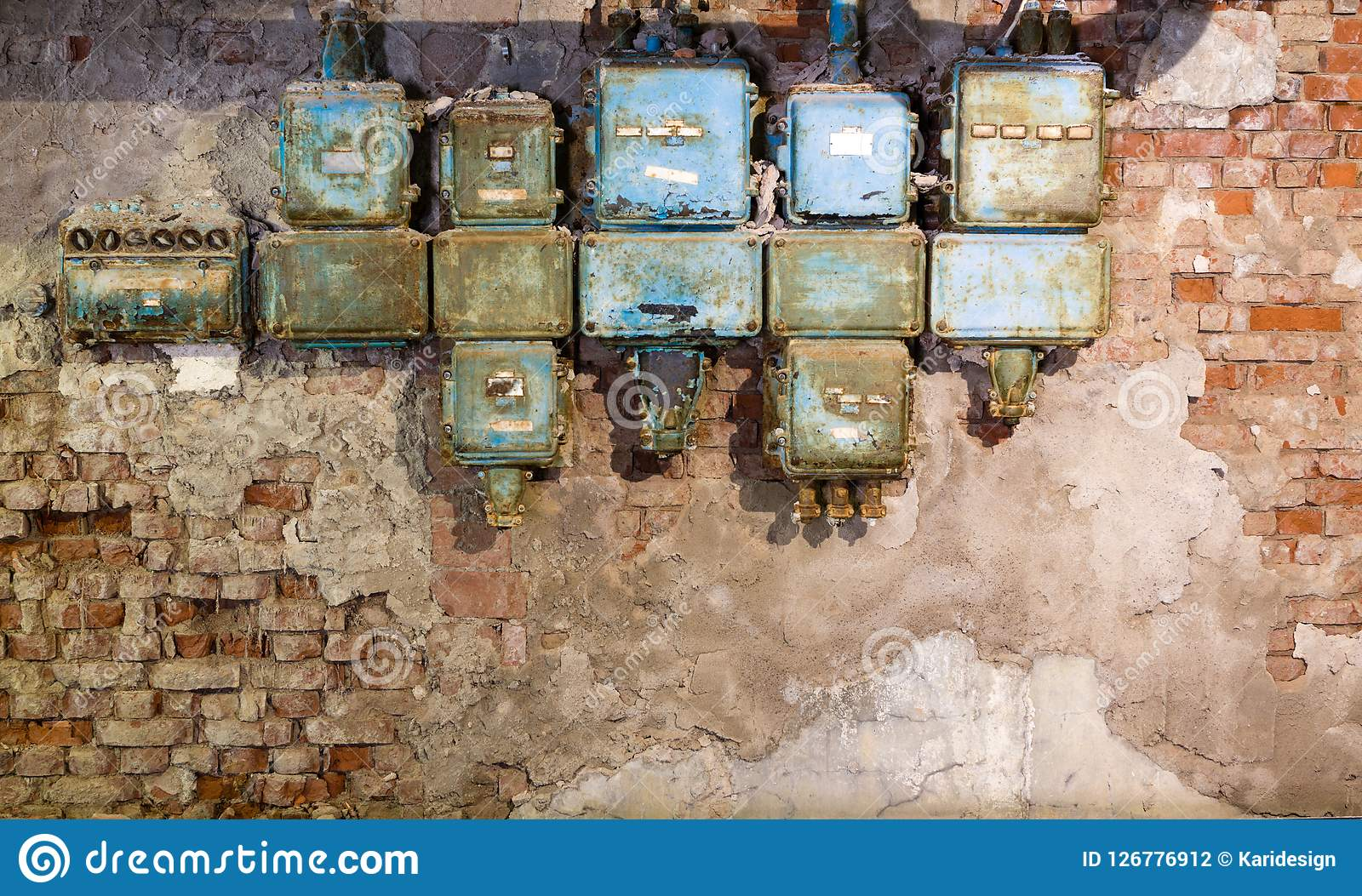 Broken Fuse Box Reveolution Of Wiring Diagram Old Holders In An Abandoned Factory Stock Photo Image Rh Dreamstime Com 12v