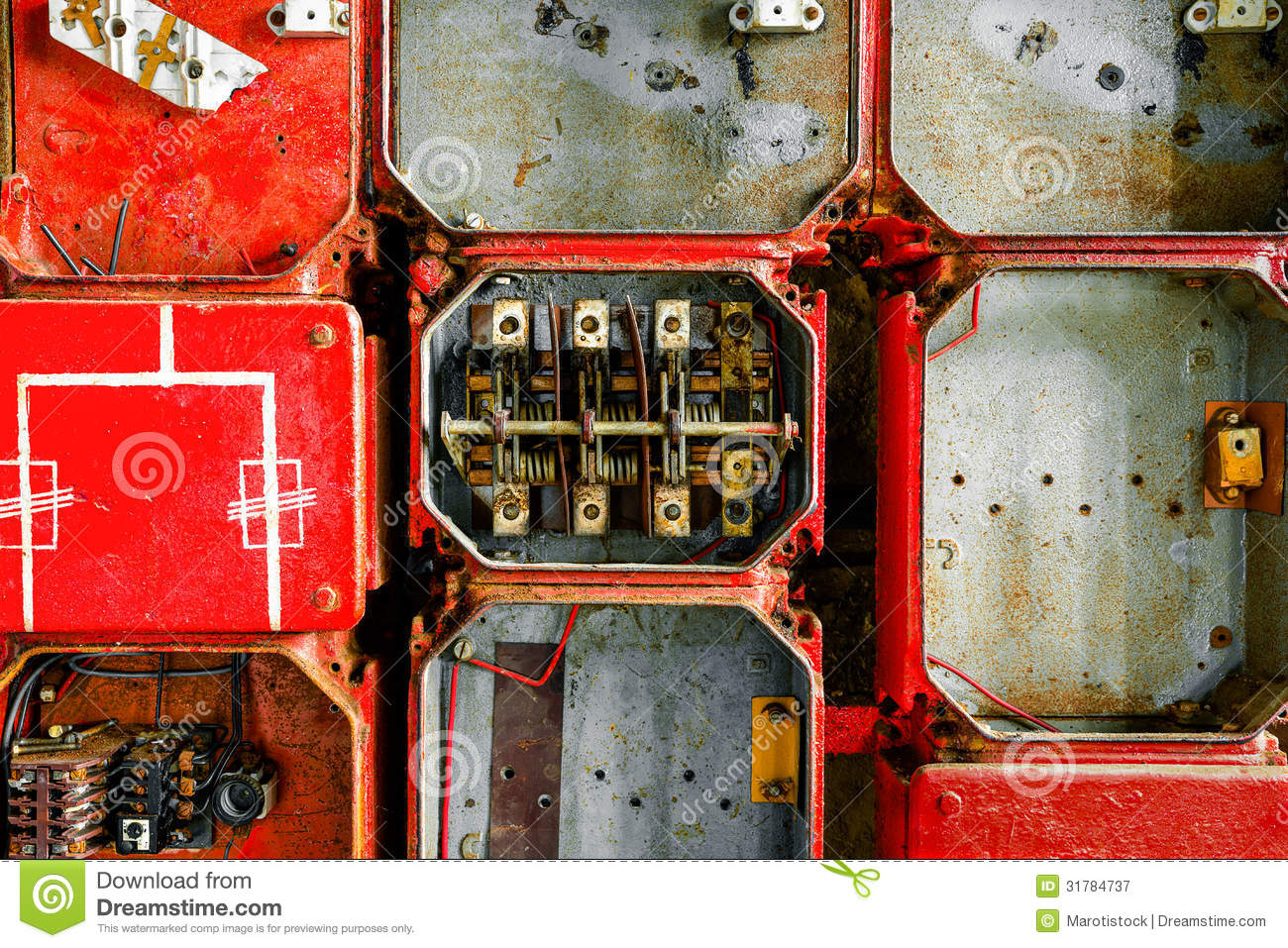 Old fuse cabinet royalty free stock photography image