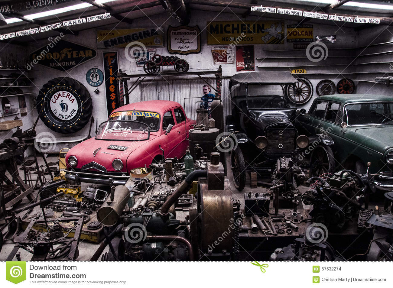 Old garage editorial stock image image 57632274 for Old vehicle parts