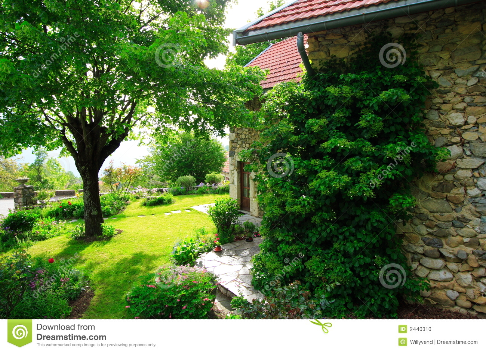 Old garden house - Old Garden And House Stock Photo