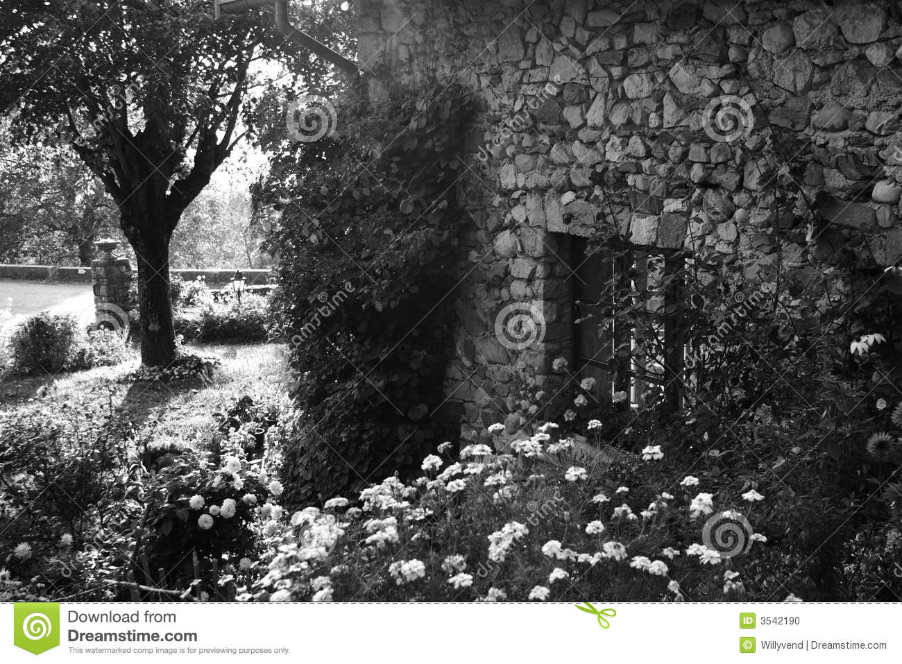 Old garden house - Old Garden And House Stock Photo