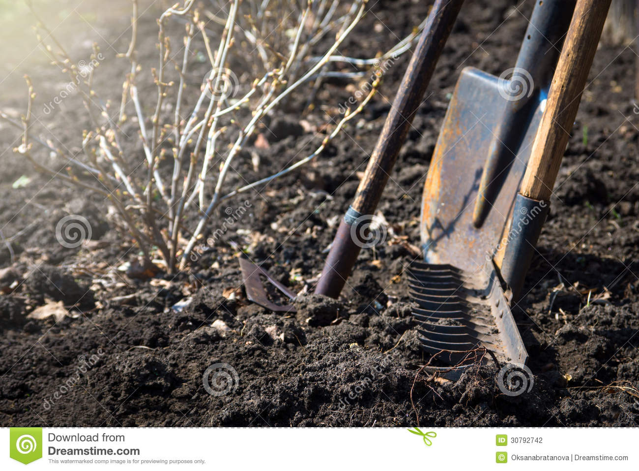 Old garden tools stock photography image 30792742 for Soil utensils