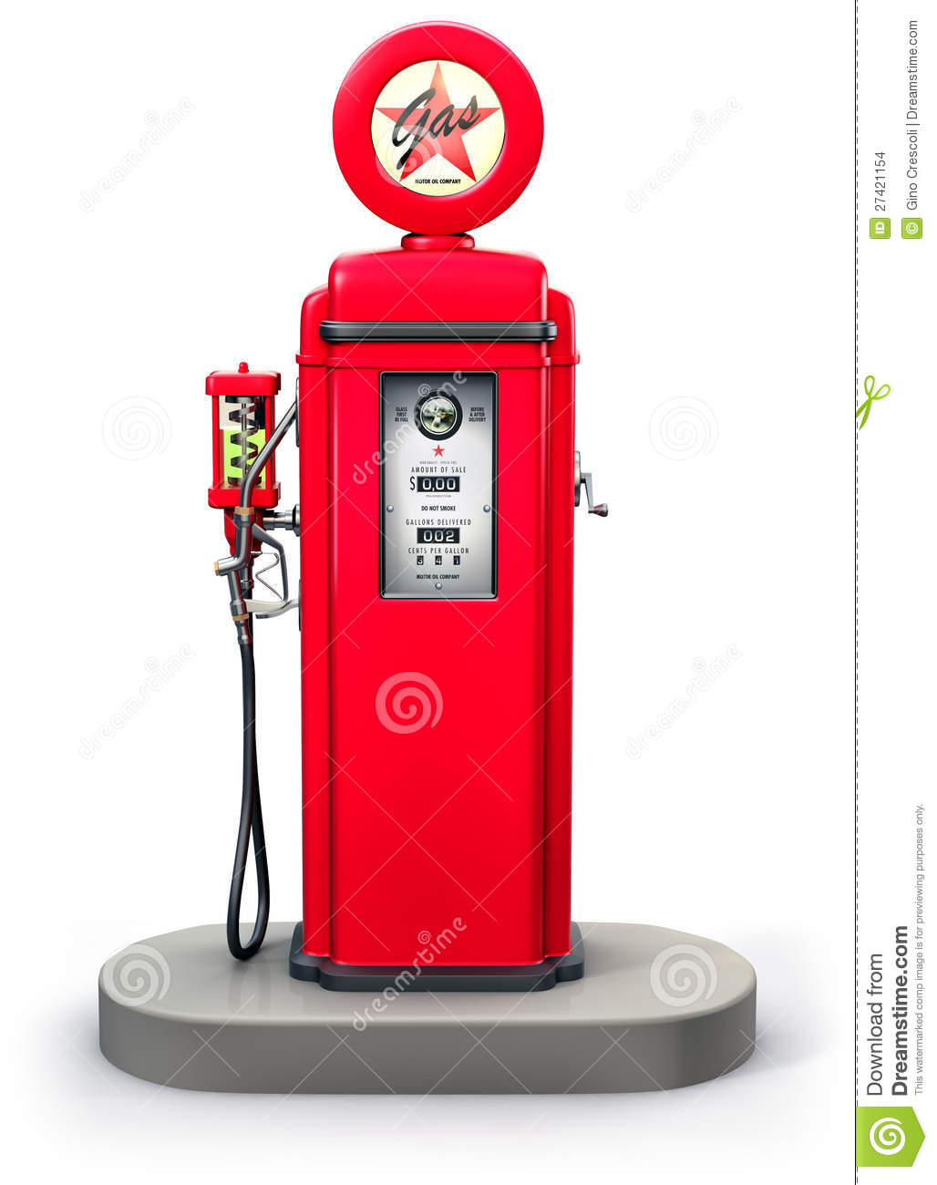 Vintage gas pump isolated on white, 3d illustration.