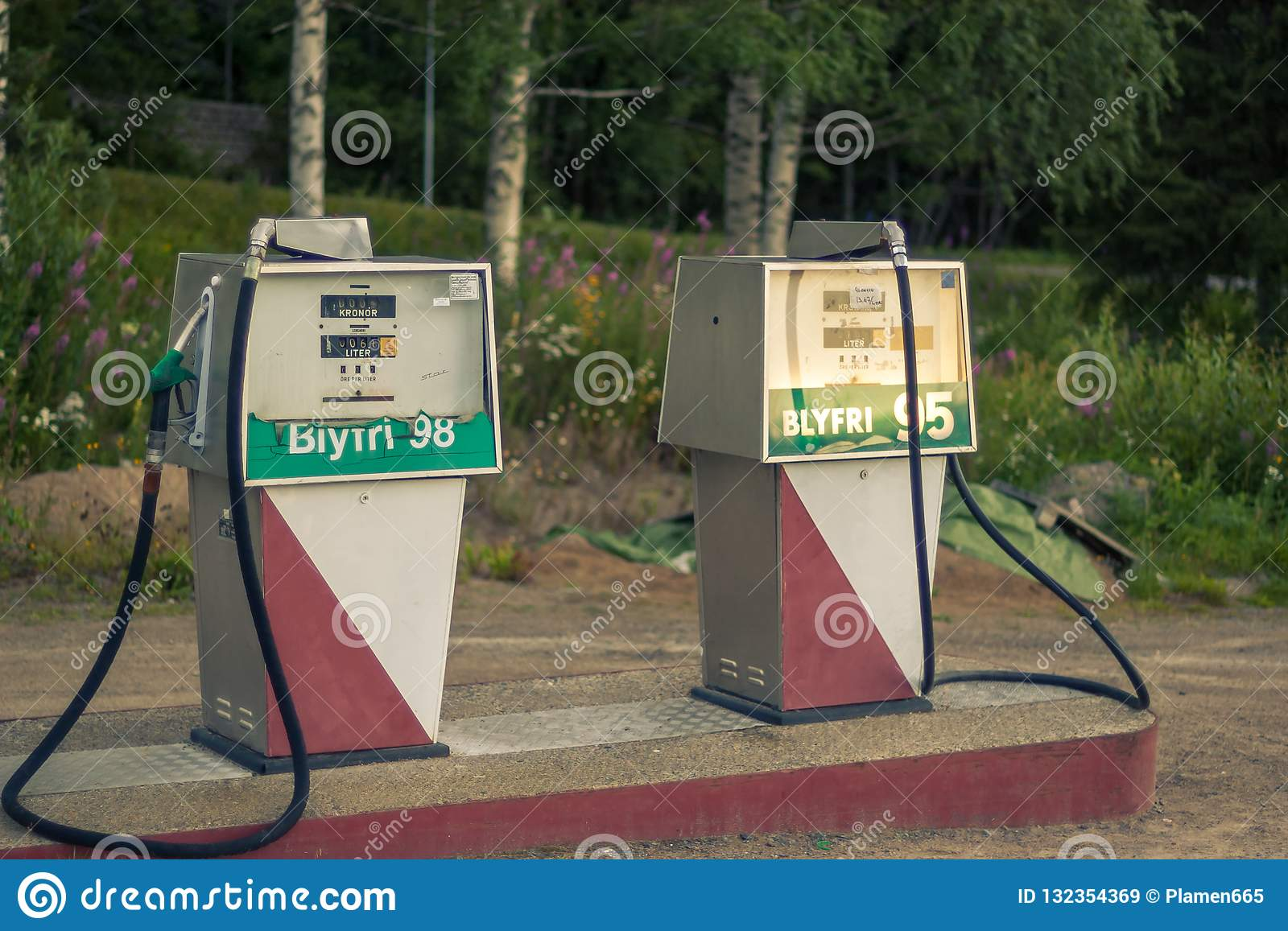 Old Gas Pumps In Northern Sweden  Stock Image - Image of