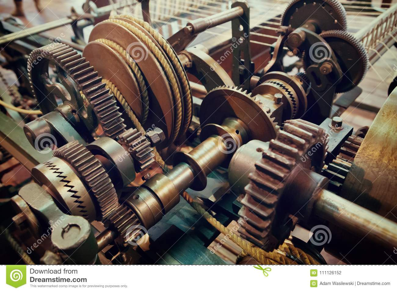 Old gears and cogs of spinning machine
