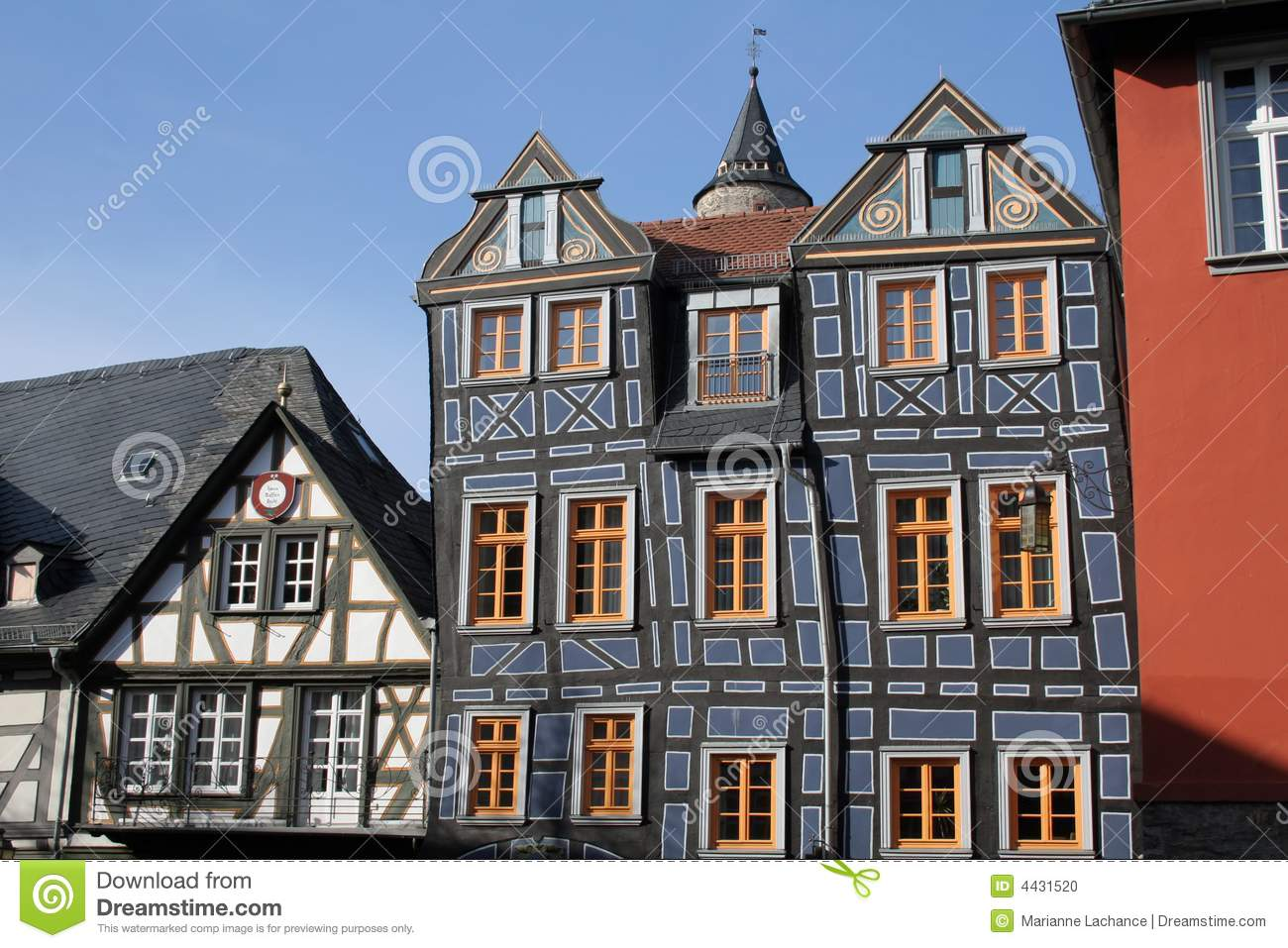 Old painted german houses in idstein germany very colorful