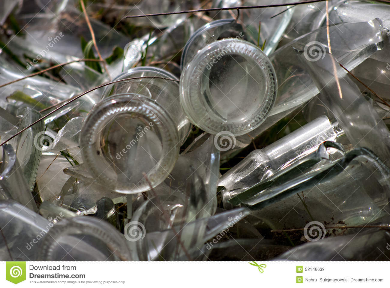 Old Glass Bottles Pollution Stock Photo Image 52146639