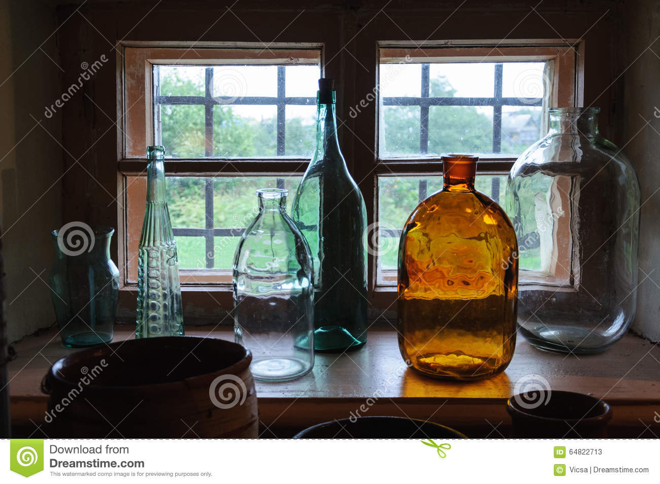 Old glass jars and bottles stock image. Image of vessel - 64822713