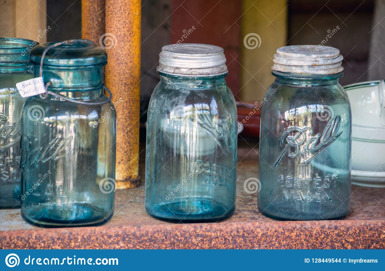 Old Glass Mason Jars With Antique Metal Lids Editorial Stock Image