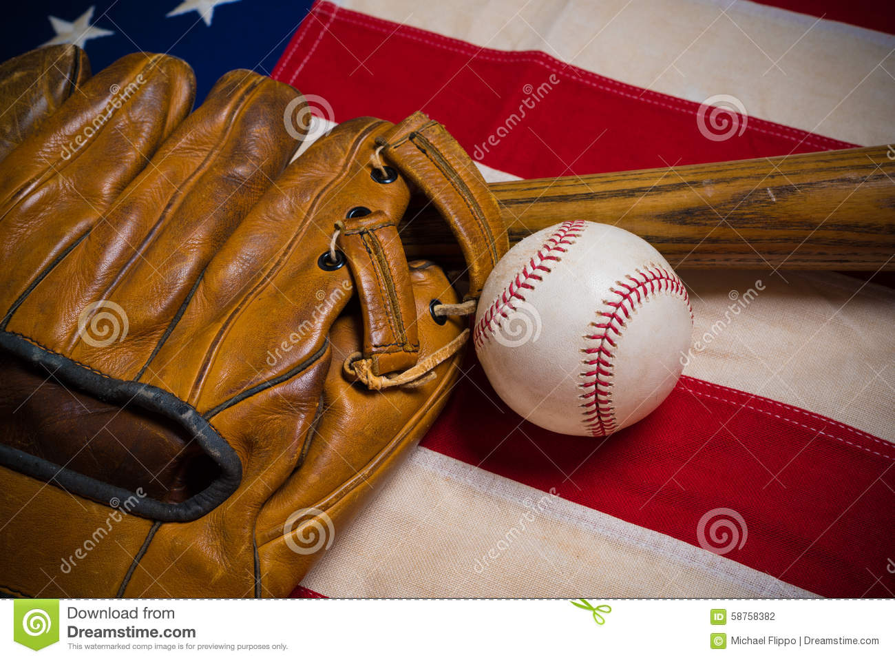 Old Glory And The National Pastime Stock Photo Image