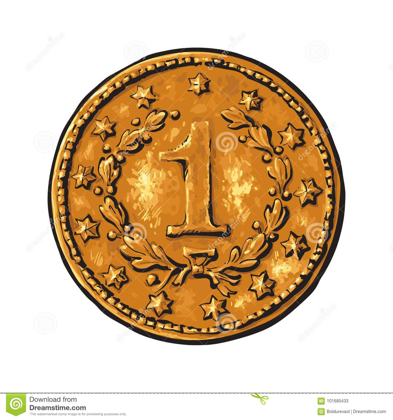 Old gold coin