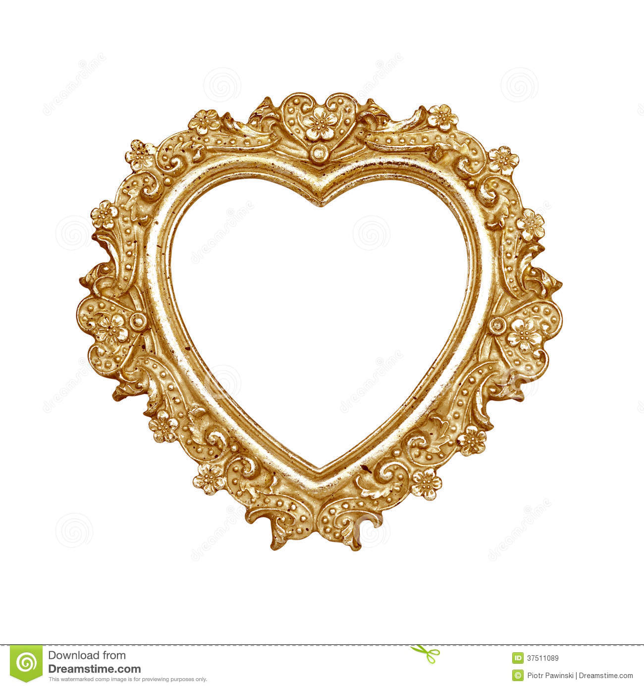 Old gold heart picture frame