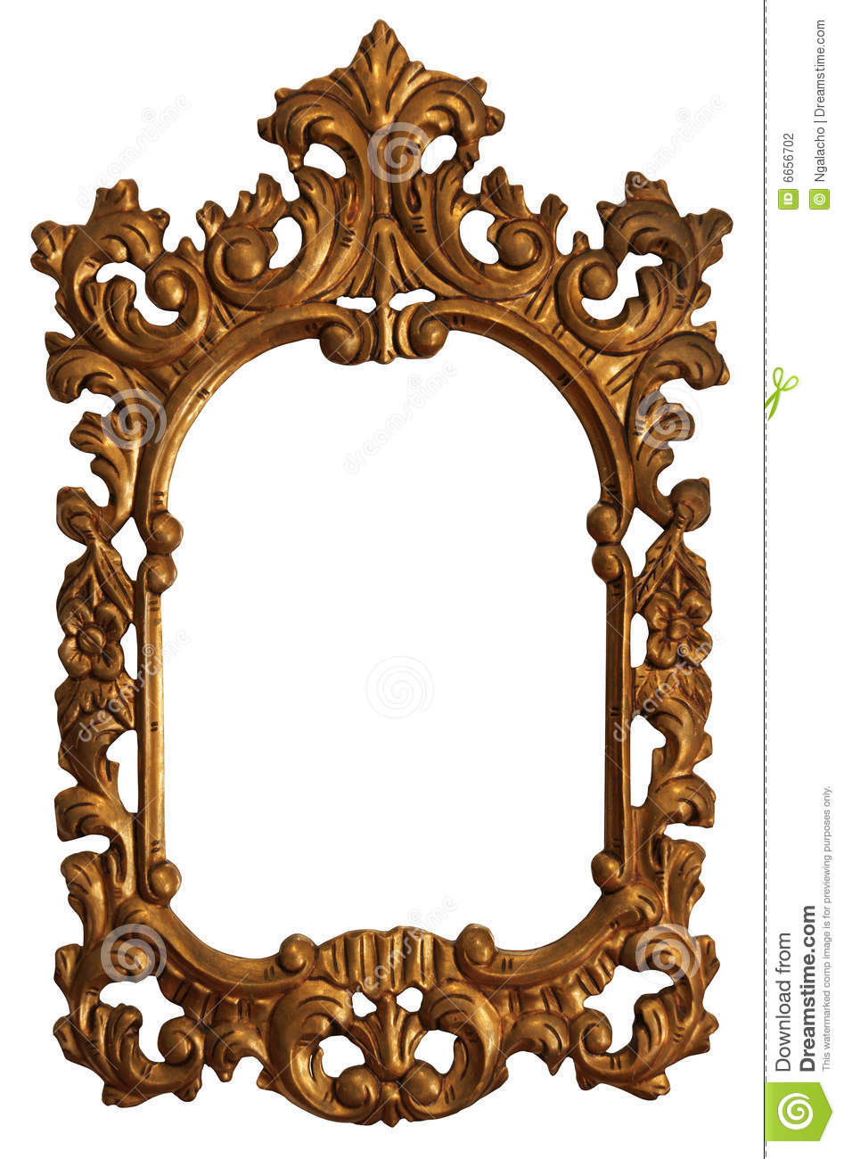 Old Gold Wood Mirror Frame With Ornaments Stock Photo