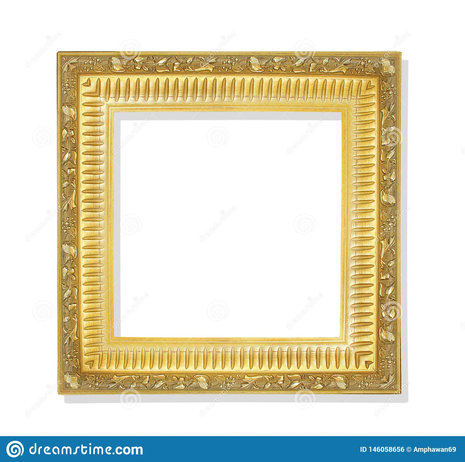 Old golden frame with flower patterns isolated on white background and clipping path