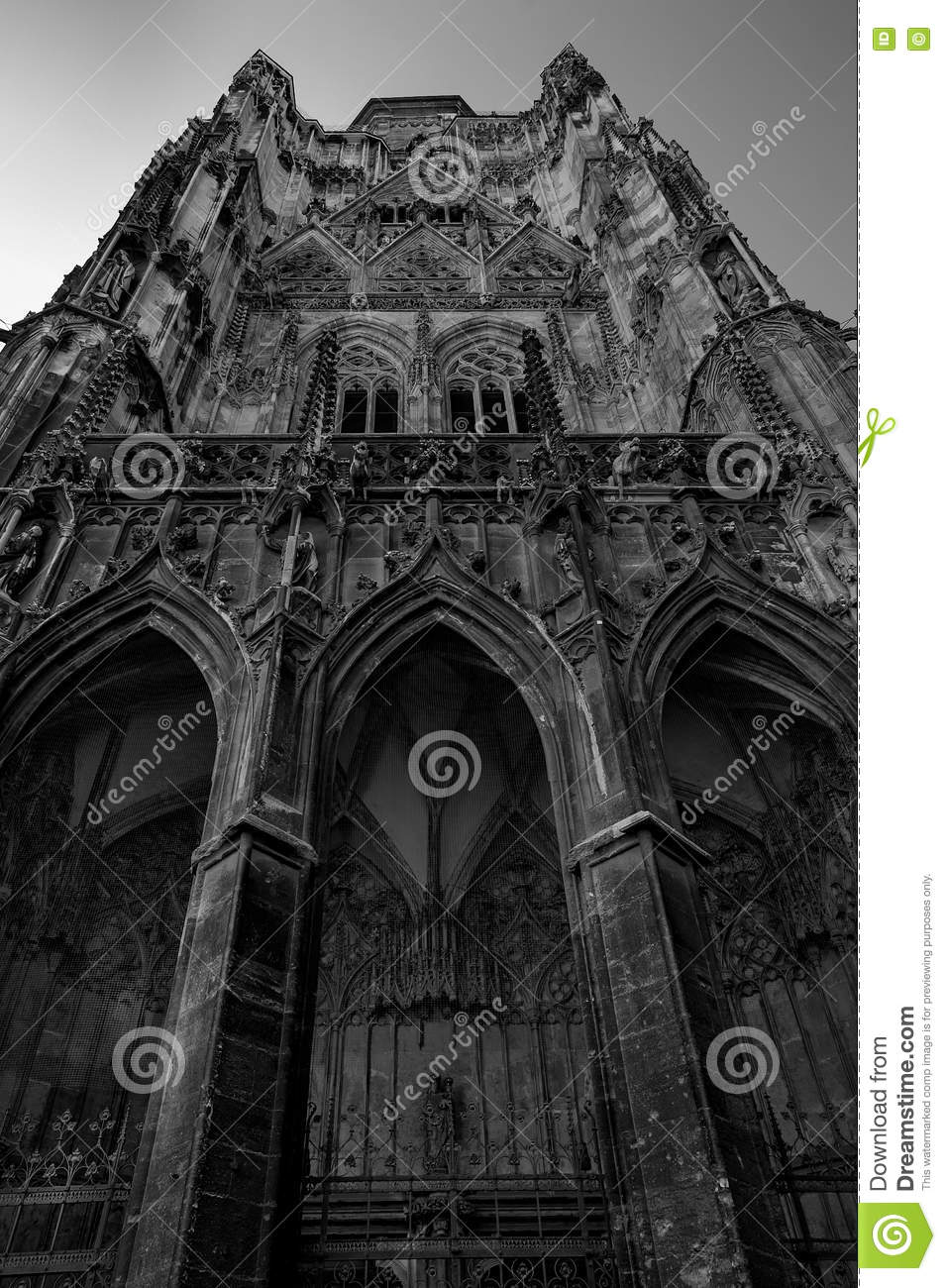 Download Old Gothic Cathedral In Dramatic Black And White Shot Stock Image