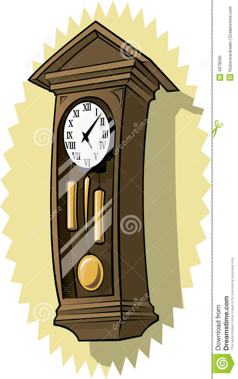 Old Grandfather Clock Stock Vector Illustration Of Brass