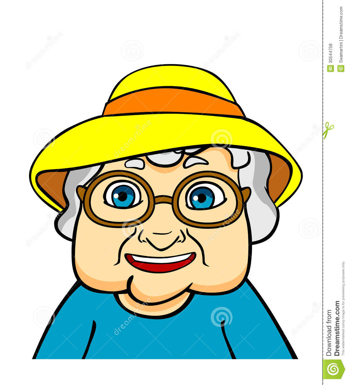 Grandmother Face Clipart Old grandmother in hat and