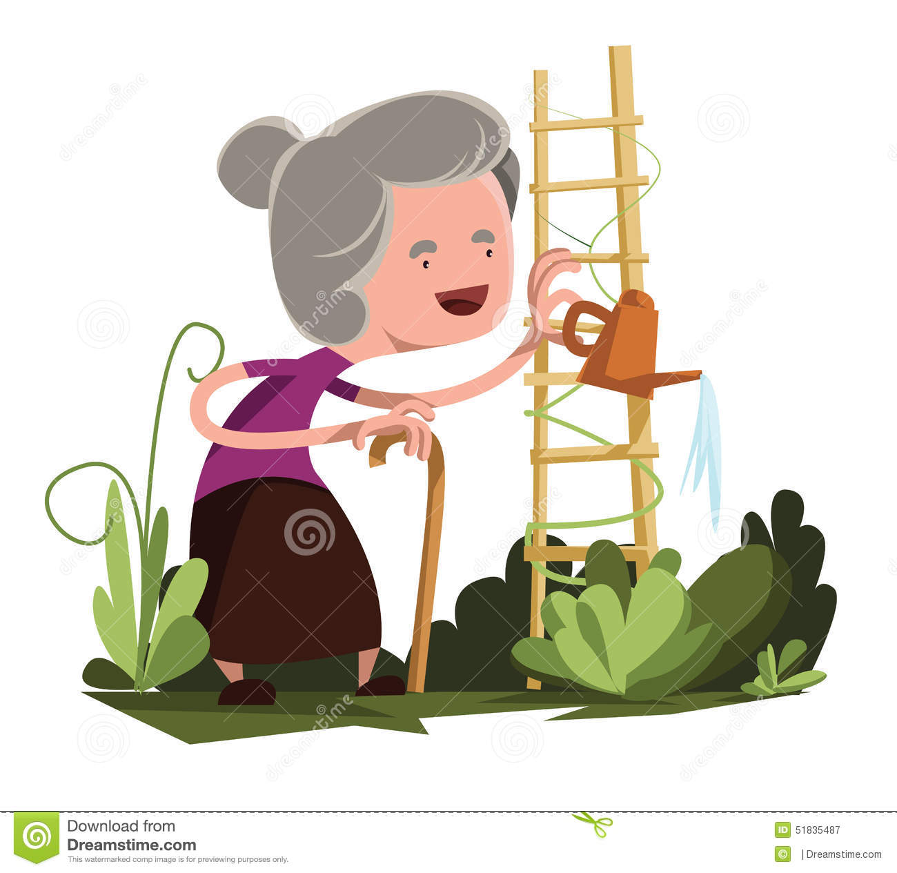 Old granny watering garden illustration cartoon character. Enjoy :).