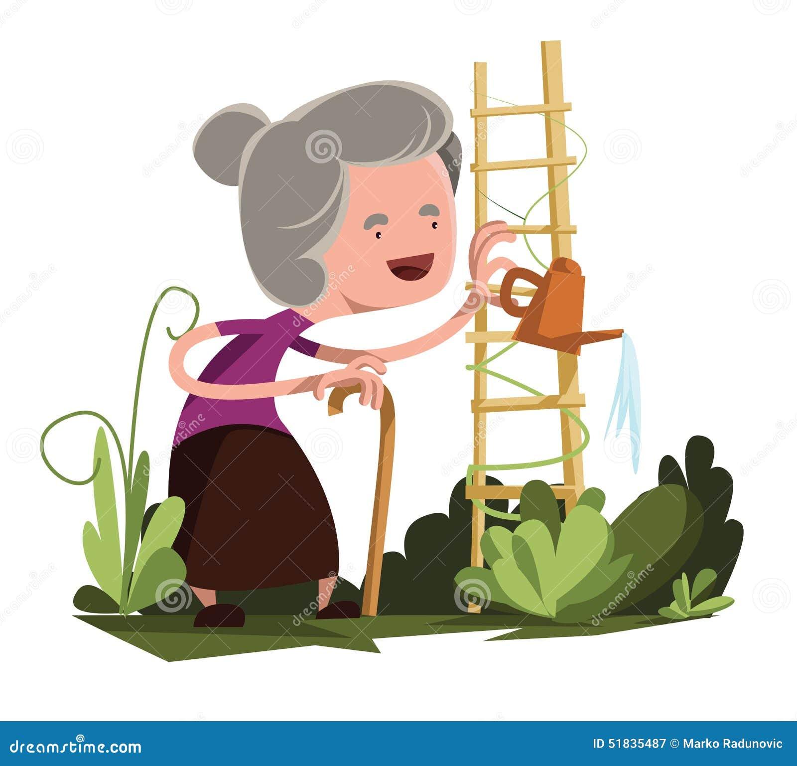 Old granny watering garden illustration cartoon character. Enjoy :).