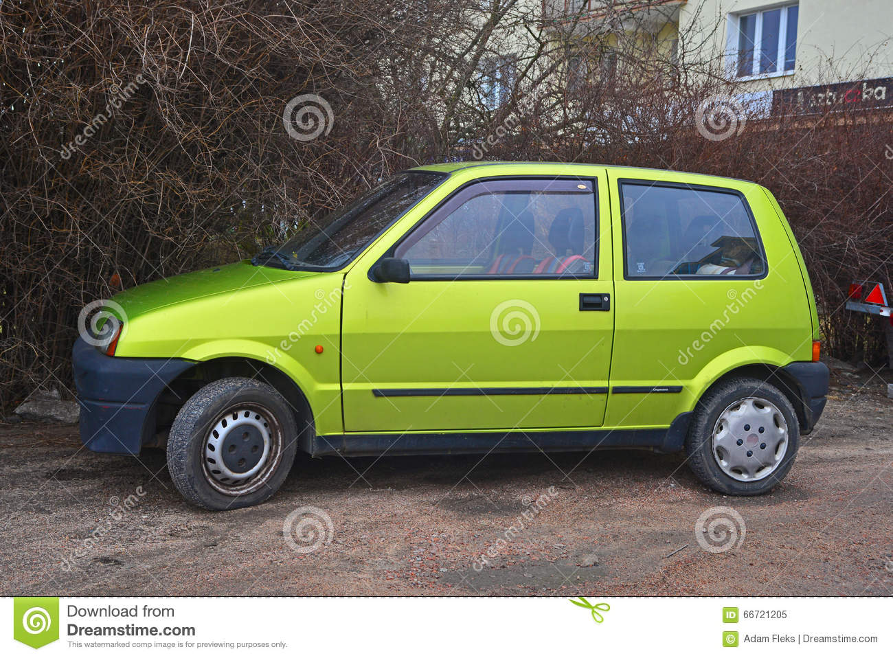 Old Green Fiat Cinquecento Parked Gdynia Northern Poland