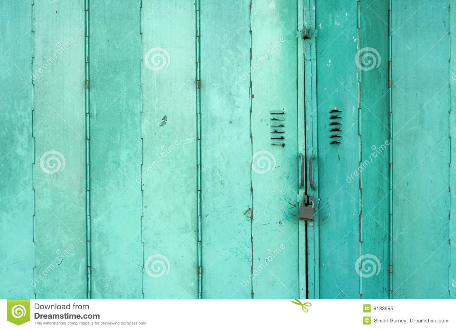 Old Green Metal Folding Doors Background Stock Image