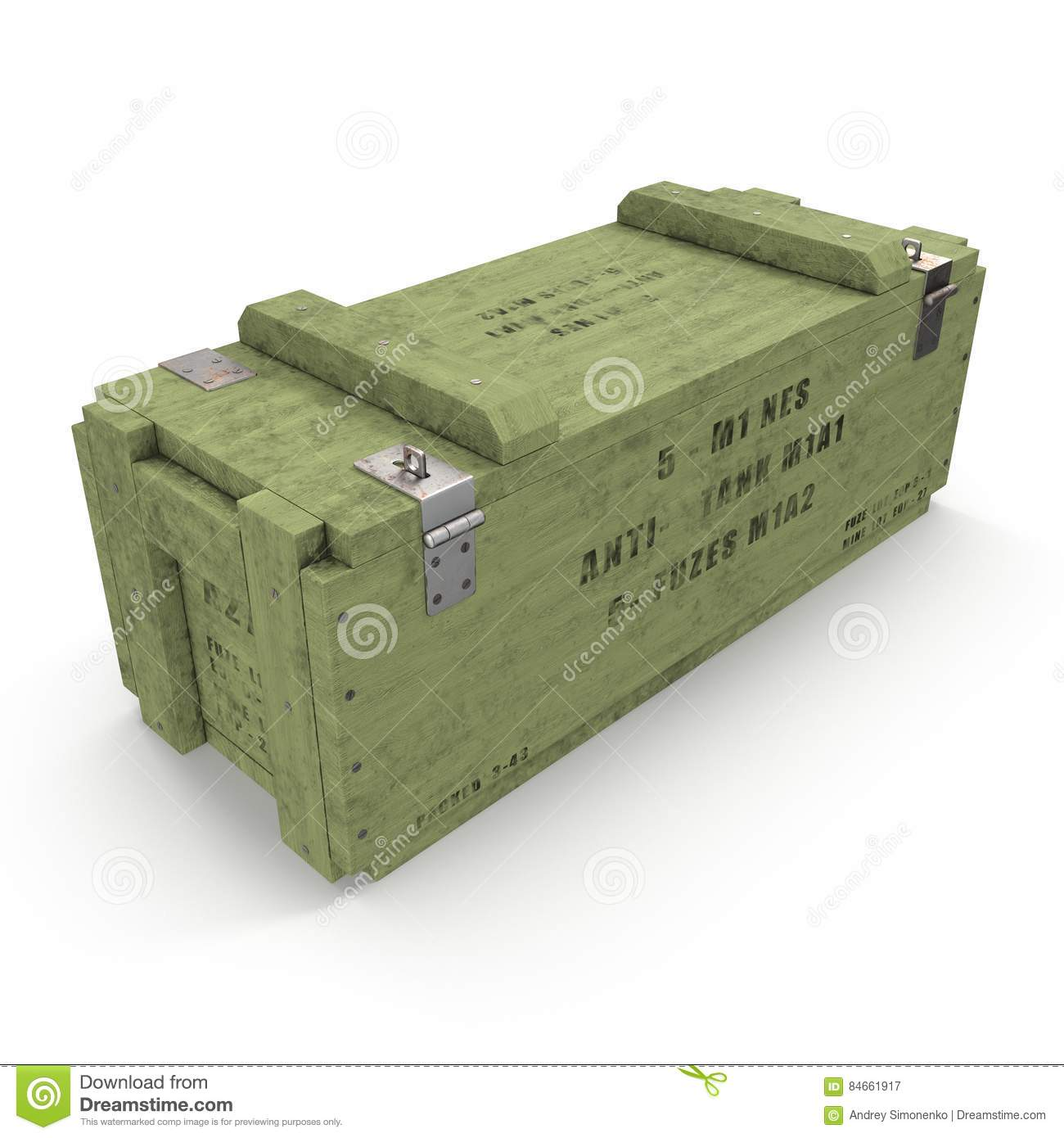 Old green wooden ammo case on white. 3D illustration
