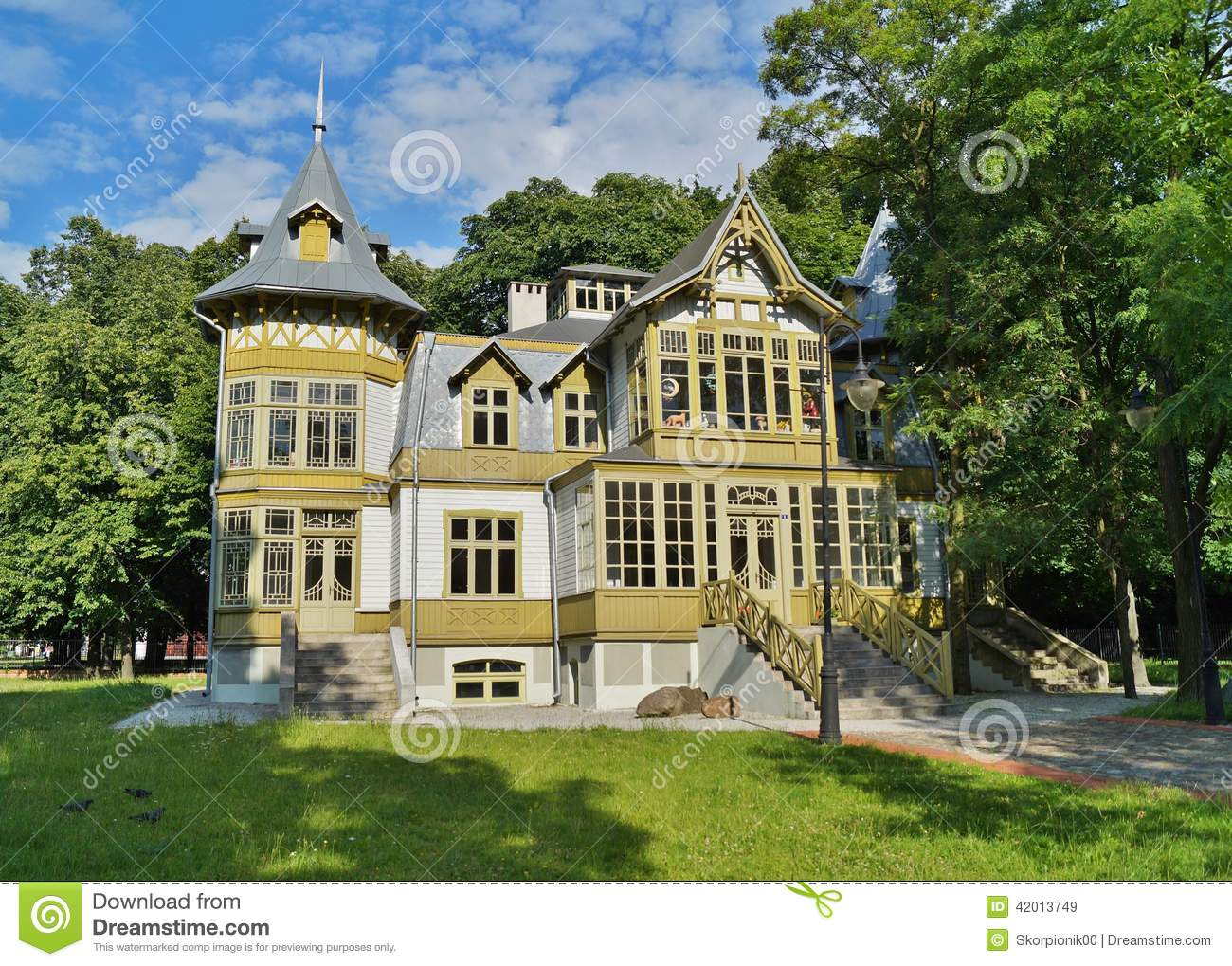 Old Green Wooden House In Skansen In Lodz Poland Central Museum Of Te Stock Image Image