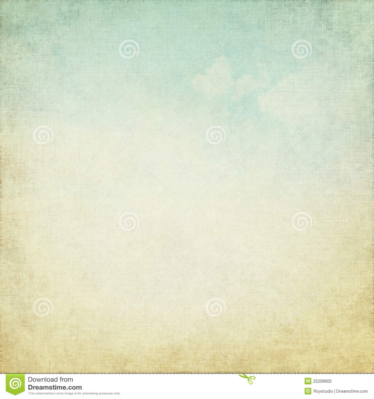 Old grunge background with blue sky white clouds