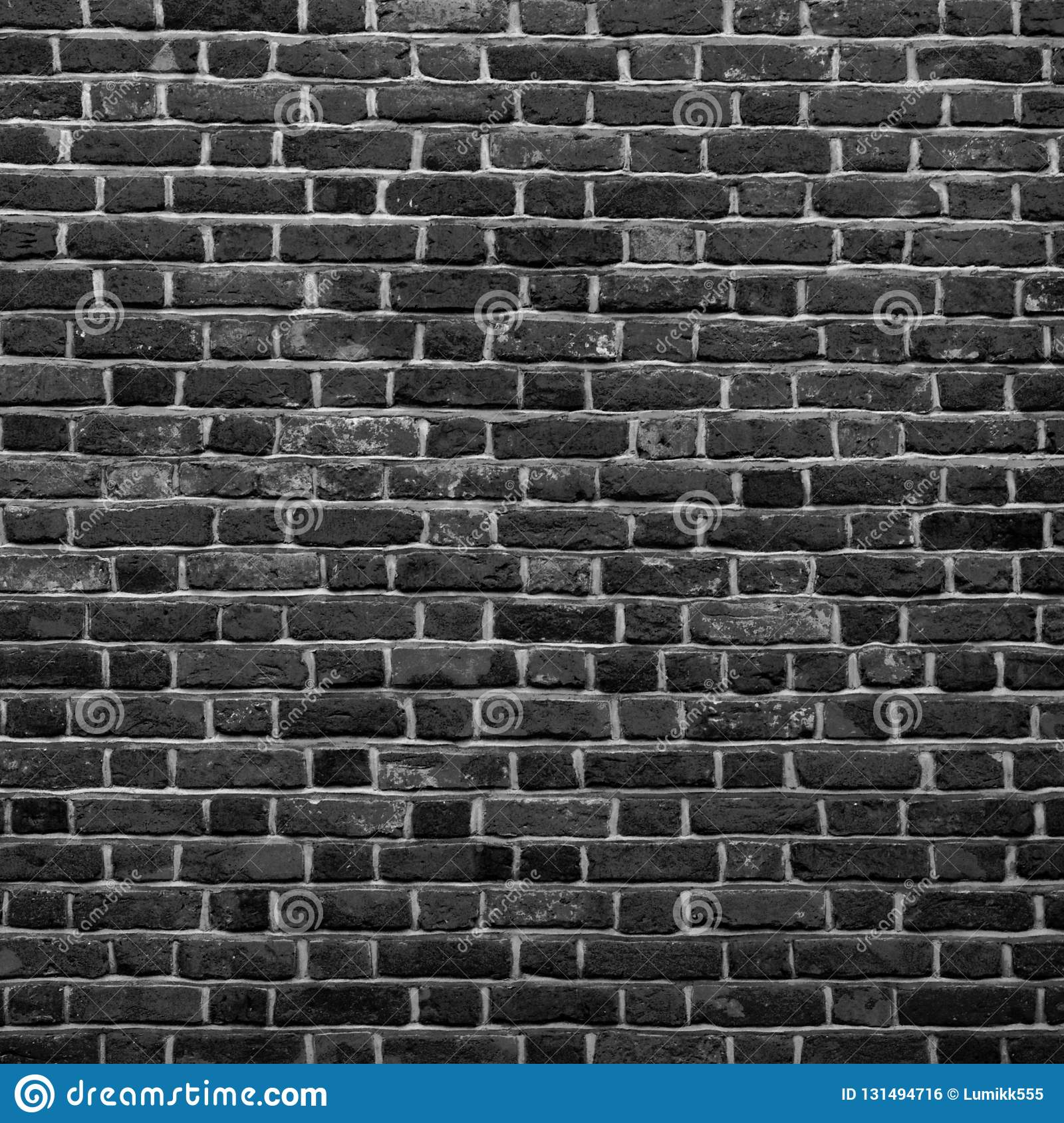 Old Grunge Black And White Brick Wall Background Abstract