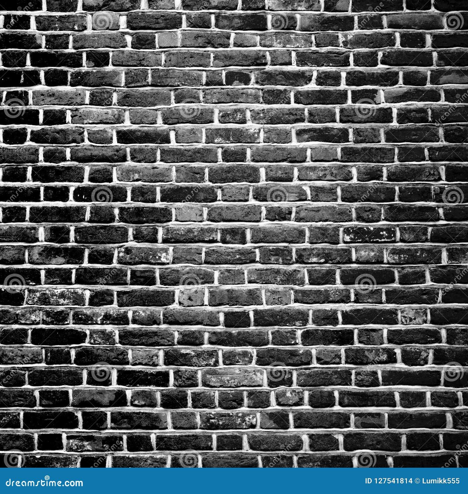 Old Grunge Black And White Brick Wall Background Stock Photo