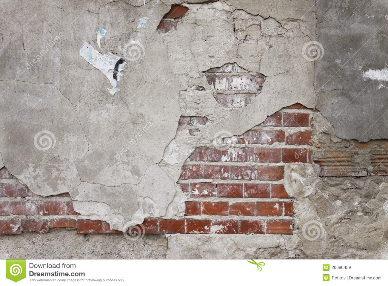 Old Grunge Brick Wall And Plaster Stock Image Image