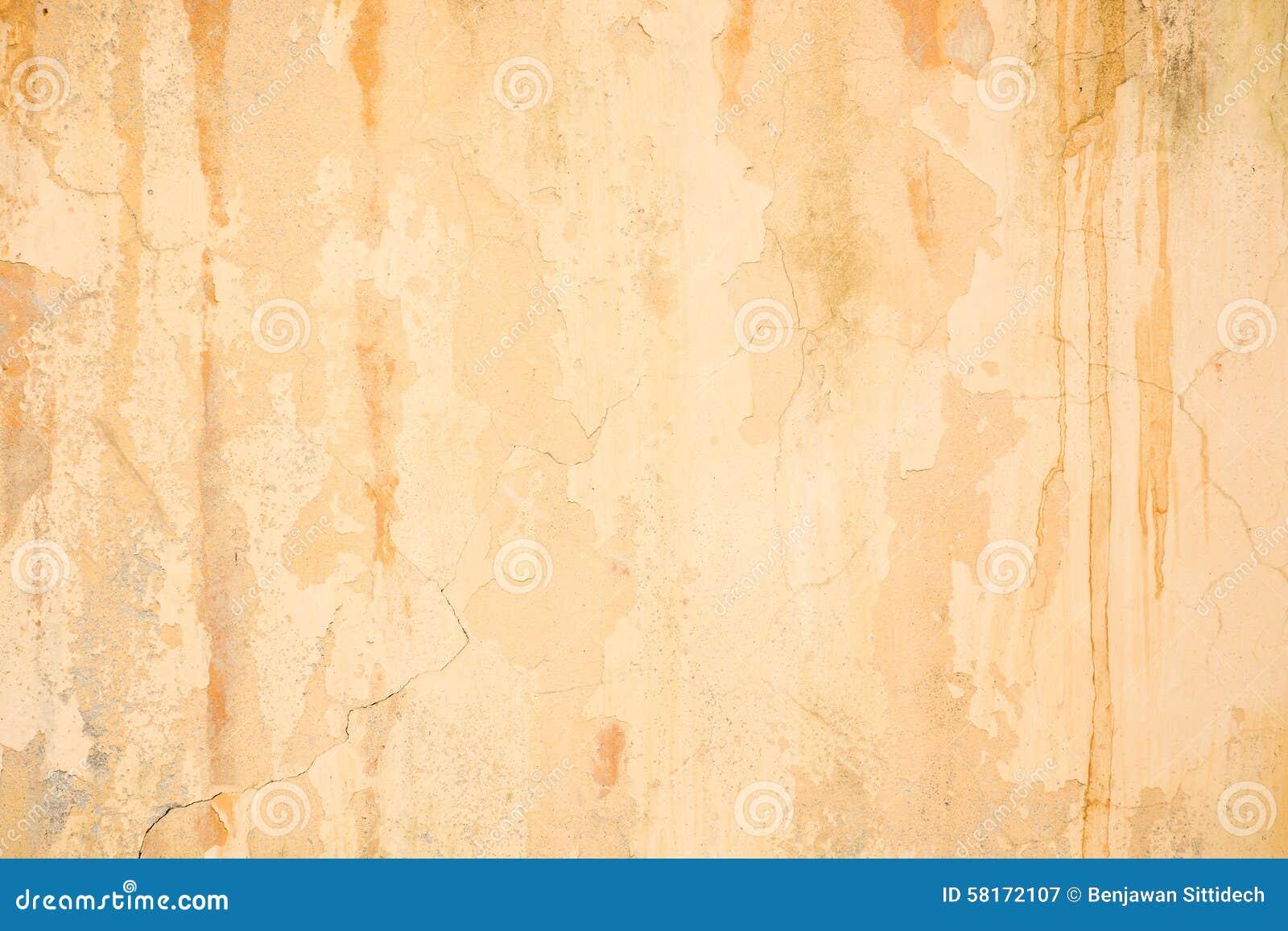 Orange Cement Wall : Old grunge cracked orange concrete wall stock image